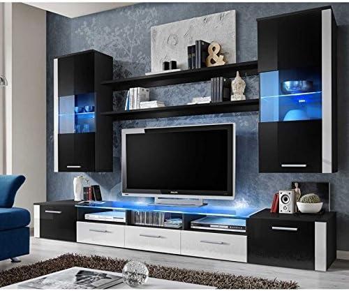 Conjunto pared – Fresh – 1 – Mueble TV – 2 vitrina verticales – 2 estantes – blanco y negro – LED: Amazon.es: Hogar