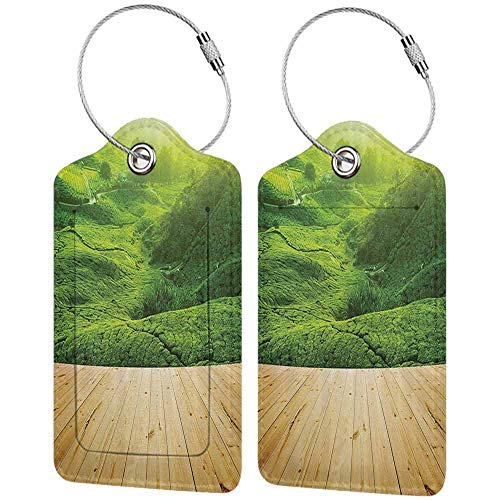 Durable luggage tag Farm House Decor Collection Highlands Tea Plantations from Wood Balcony Perspective Sunrise in Eary Morning with Fog Unisex Green W2.7