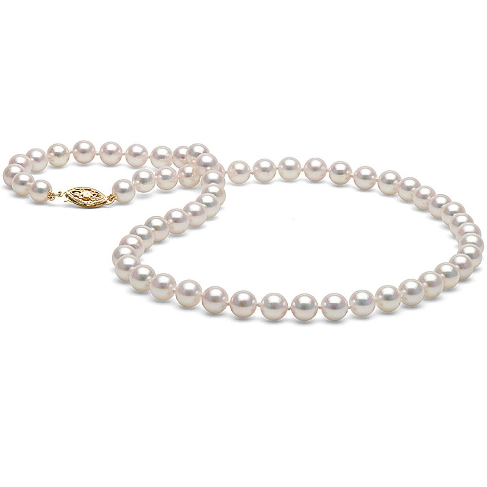 14K Cultured White Japanese Saltwater Akoya Pearl Necklace, 18-Inches, AAA Quality (yellow-gold, 6.0-6.5mm)