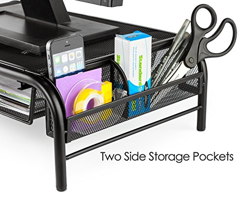 Halter Mesh Metal Monitor Stand/Riser with Pull Out Drawer and Side Compartments, Black, 2-Pack