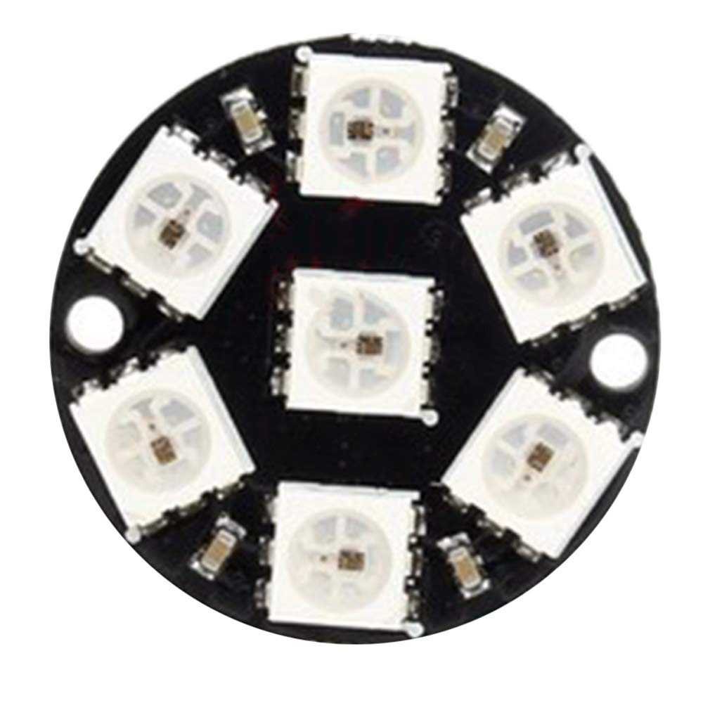 Refaxi 5PCS CJMCU-WS2812 5050 7 Pixel RGB LED Ring Works with NeoPixel Library