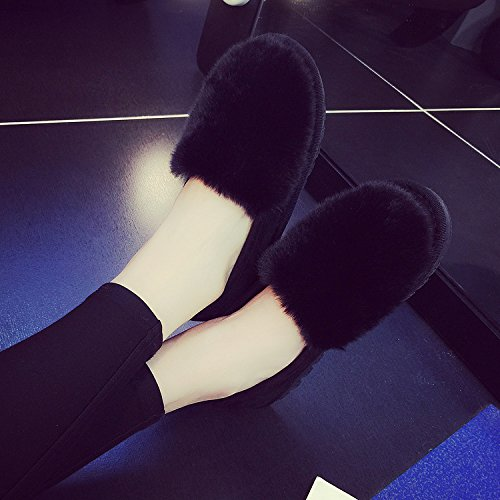 CWAIXXZZ plush slippers Cotton slippers female thick lovely winter stay  warm your living room package with cotton shoes plus velvet winter shoes on  a ,38, ...