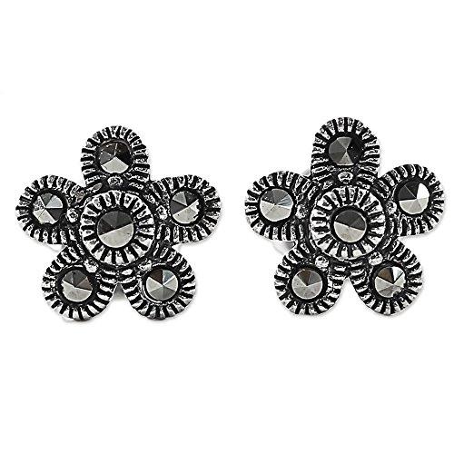 NOVICA Marcasite .925 Sterling Silver Stud Earrings, 'Pretty (Novica Marcasite Earrings)