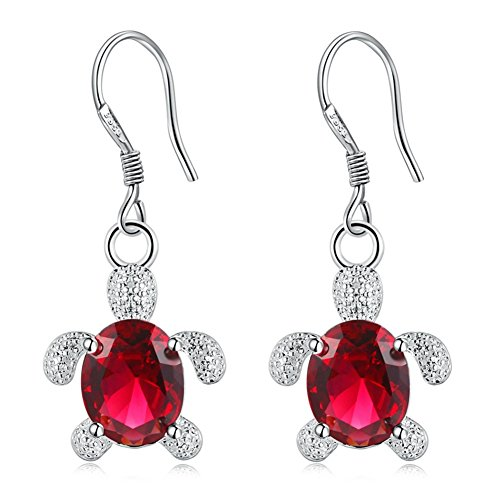 Sterling Silver Plated AAA Cubic zirconia Lovely Blue & Red Crystal tortoise turtle Charm Dangle Earrings (Red) (Charm Turtle Earrings)