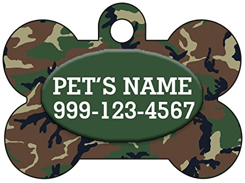 - Camo Dog Tag Pet Id Tag Personalized w/Your Pet's Name & Number (Green)