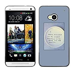 FECELL CITY // Duro Aluminio Pegatina PC Caso decorativo Funda Carcasa de Protección para HTC One M7 // Happy Health Food Thought Quote