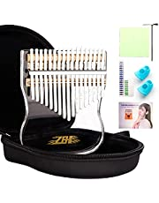 Kalimba 17 Keys Thumb Piano, Portable Transparent Acrylic Mbira Wood Finger Piano, Musical Instrument Gifts for Kids Adult Beginners with Tuning Hammer and Study Instruction