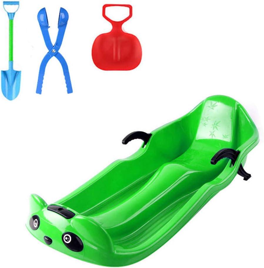 けん引ロープ、砂の草のスキー子供滑りやすいレーサーダウンヒルスプリンターのためのボートのそりのおもちゃの圧延のスライダーが付いている頑丈なプラスチック雪そりのソリ 緑
