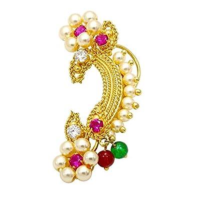 2b53a9989a Meenaz Jewellery Traditional Maharashtrian Nath Nose Rings White Ruby Stone  Bajirao Mastani Kashibai Nath Gold Pearl