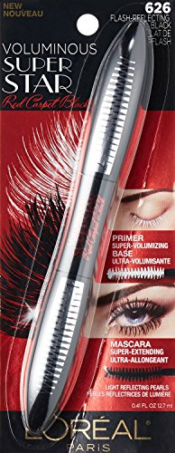 L'Oreal Voluminous Superstar Red Carpet Mascara, 626 Flash Reflecting Mascara, (Pack of 4) (Lash Extending Loreal Mascara Black)