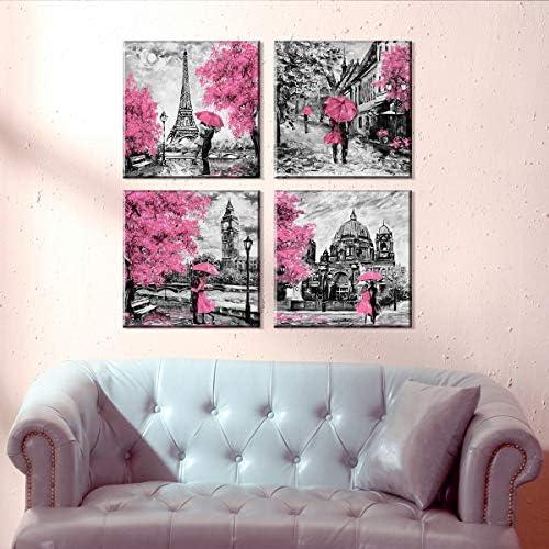 Pink London Large Canvas Wall Art Decor