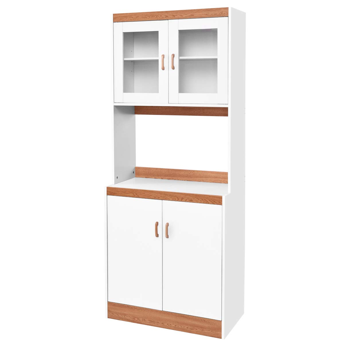 Giantex Microwave Cabinet Counter Kitchen Pantry Cupboard Storage Cabinet Shelves White (72.1'' Height) by Giantex