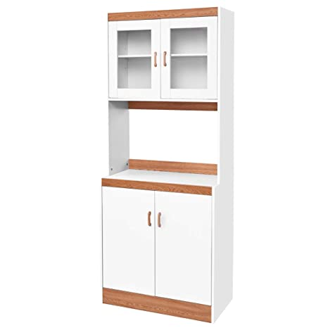 Giantex Microwave Cabinet Counter Kitchen Pantry Cupboard Storage Cabinet  Shelves White (72.1\