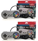 2x New Snes USB Famicom Colored Classic Super Nintendo Controller for Pc/mac