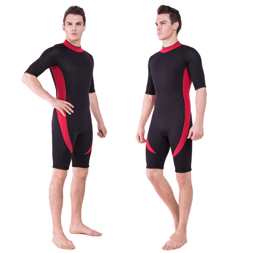DEHAI Men Women's Thermal Wetsuits Full Suit Sleeves 3mm Neoprene Youth Adult's Diving Swimming Snorkeling Surfing Scuba Jumpsuit Warm Swimwear (3mm Shorty Men Wetsuit - Red, L) by DEHAI
