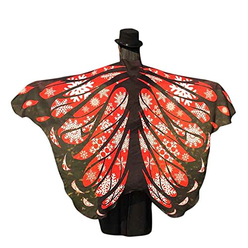 VESNIBA Soft Fabric Butterfly Wings Shawl Fairy Ladies Nymph Pixie Costume Accessory (197125CM, Red (Halloween Costumes Wood Nymph)