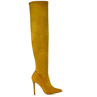 66226ac081f ESSEX GLAM Womens Thigh High Boots Stiletto High Heel Over The Knee Stretch  Leg Calf Point