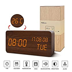 Alarm Clock for Kids---FiBiSonic Wood Digital Clock Small Green Brown&Orange Led Modern Style Clock, Displays Time Date and Temperature-Nice Gifts for the Office and Home