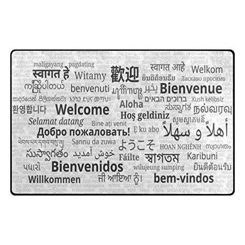 ALAZA My Daily Multilingual Welcome Area Rug 20