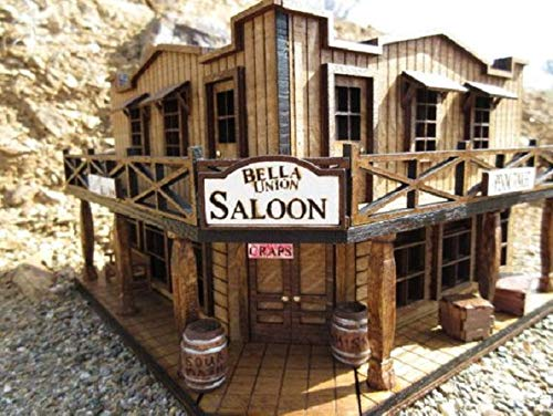 The Bella Union Saloon Old West Miniature Rustic Building Deadwood Cy Tolliver Model train exhibit decor ()