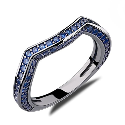 Caperci Created Blue Sapphire Diamond Wedding Ring for Women, 14k Black Gold Rhodium Plating Over Sterling Silver 925 Band Ring Size ()