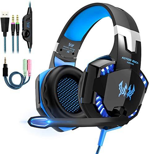 Auriculares Gaming Estereo con Microfono para PS4 PC Xbox One, Cascos Gaming Professional con Bass Surround para Nintendo Switch Gamer, Diadema Acolchada y Ajustable(Tiene un adaptador cable)
