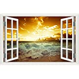 "3D Window Scenery Removable Wall Sticker Golden Sunset Sea Wave Wall Decals Home Decor Mural Art Wallpaper 24""X36"""
