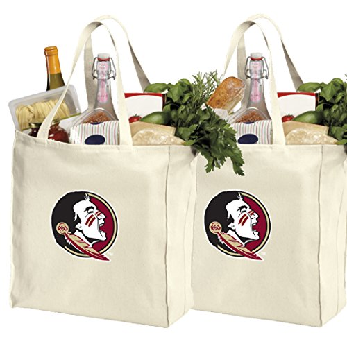 Reusable Florida State Shopping Bags or FSU Grocery Bag 2Pc Set Natural Cotton