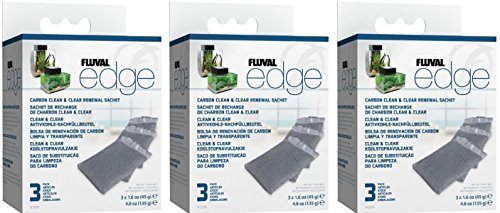 (3 Pack) Fluval Edge Carbon Clean and Clear Renewal Sachets (3 Sachets Per Pack / 9 Total)