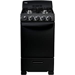 Danby 20-in. Gas Range with Sealed Burners, Electric Ignition and 2.3-Cu. Ft. Oven Capacity in Black