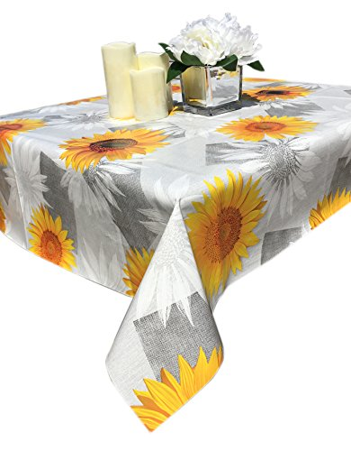 Qute Home 55 x 95-inch Rectangle Tablecloth | Daisy Grey & Yellow Vinyl Dining Table Cover (Seats 6-8 (Yellow Vinyl Seat)