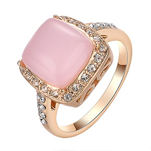 Yoursfs Opal Ring Statement Pink Stone Rings with Cubic Zirconia 18K Rose Gold Plated Women Fashion Jewelry Gift (Ring Pink 18k)