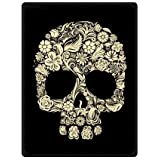 "Top design Dia De Los Muertos Suger Skull and Flower Printed Blanket Sumptuously Plush Lap Warmer Winter Blankets Throw Bedspread 58"" x 80"" (Large)"