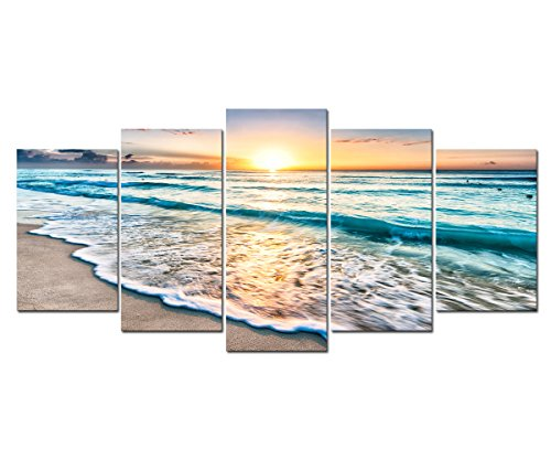 Cao Gen Decor Art-S58829 5 panels Wall Art Sunset Ocean Printed on Canvas Stretched and Framed Canvas Paintings Ready to Hang for Home Decorations Wall (Sunset Ocean)