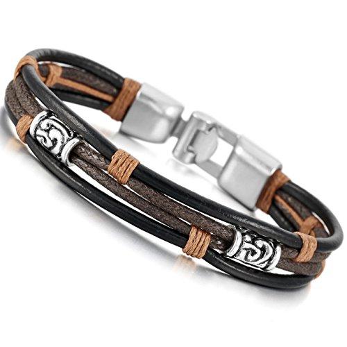 Amazon #LightningDeal 99% claimed: Black Silver Brown Alloy Genuine Leather Bracelet Bangle Rope Tribal