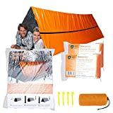 MrsharkFit Emergency Tent with 2 Emergency Blanket - 2 Person Emergency Tent - Use As Survival Tent, Emergency Shelter, Tube Tent, Survival Tarp - Includes 4 Tent Nail