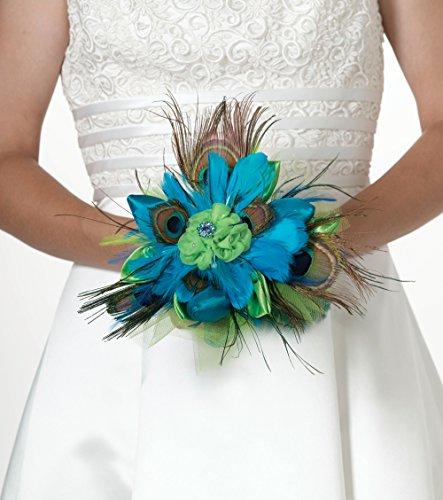 Lillian Rose Aqua Peacock Feather Wedding Bouquet