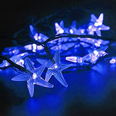 LED SopoTek Solar Powered LED Christmas Light, 16.4Ft 4.8Meters 20LED Starfish Solar Fairy String Lights for Outdoor, Gardens, Homes, Wedding, Christmas Party, Waterproof (20LED Blue)