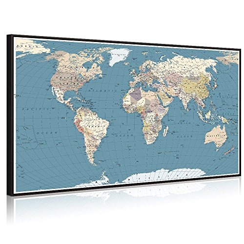World Stretched Canvas - Welmeco Large Office Wall Decoration Detailed World Map Canvas Prints Poster Frame and Stretched Ready to Hang Push Pins Map of The World Picture Artwork for Living Room Decor (32