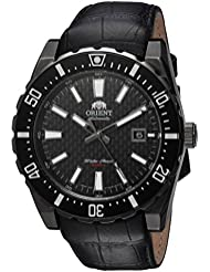 Orient Mens Nami Japanese Automatic Stainless Steel and Leather Diving Watch, Color:Black (Model: FAC09001B0)