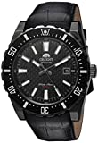 Orient #FAC09001B Men's Nami Black IP Black Dial Leather Band Automatic Dive Watch