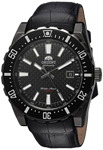 - Orient Men's Nami Stainless Steel Japanese-Automatic Diving Watch with Leather Calfskin Strap, Black, 24 (Model: FAC09001B0)