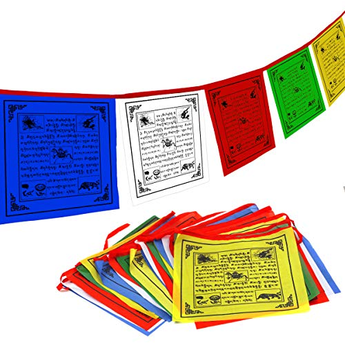 Buddhist Prayer Flags - Anley Tibet Buddhist Prayer Flag - Traditional Five Elements - Horizontal Wind Horse Design (10