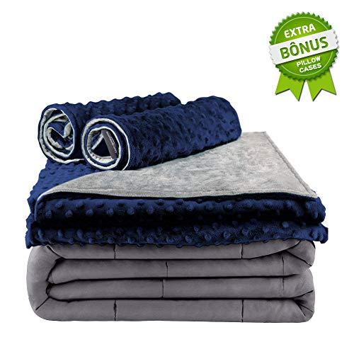 (Secura Everyday Luxury Premium Adult Weighted Blanket & Removable Blue Minky Cover   20 lbs, 60 x 80 Queen Size   Dark Grey Heavy Blankets 100% Cotton Material   Hypo-Allergenic)