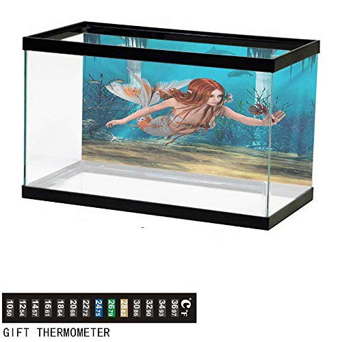 wwwhsl Aquarium Background,Mermaid,Lifelike Mermaid Holding a Sea Lily Magic Aquatic World Theme,Pale Blue Burnt Sienna Yellow Fish Tank Backdrop 48