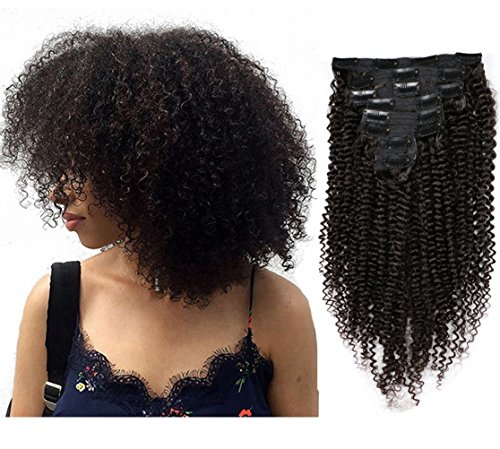 MEIEM Clip In Human Hair Extensions Brazilian Virgin African American 4B Kinky Curly Clip in Hair Extensions Natural Color Clip Ins For Black Women 8 Pcs 120g - For Business Days Are Fedex What
