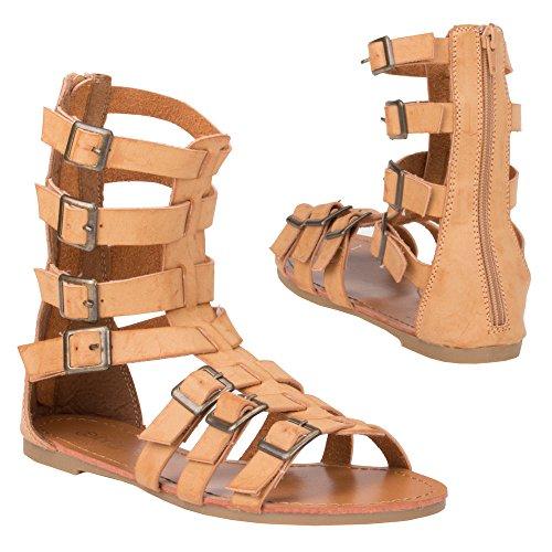 Ital-Design Zehentrenner Damenschuhe Blockabsatz Reißverschluss Sandalen Sandaletten Camel