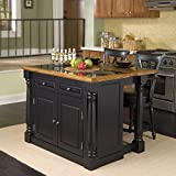 Kitchen Island with Bar Seating Home Styles 5009-948 Monarch Granite Top Kitchen Island with 2 Stool, Black Finish