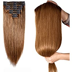 "160g Double Weft Clip in 100% Remy Human Hair Extensions #6 Light Brown Grade 7A Quality Full Head Thick Long Soft Silky Straight 8pcs 18clips for Women Fashion 22"" / 22 inch"