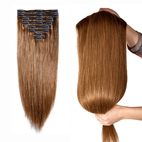 Double Weft 100% Remy Human Hair Clip in Extensions 10